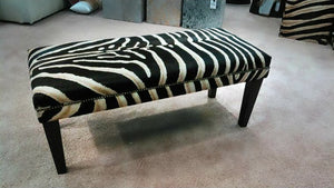BENCH - Zebra Stencil on Cowhide - Trophy Room Collection