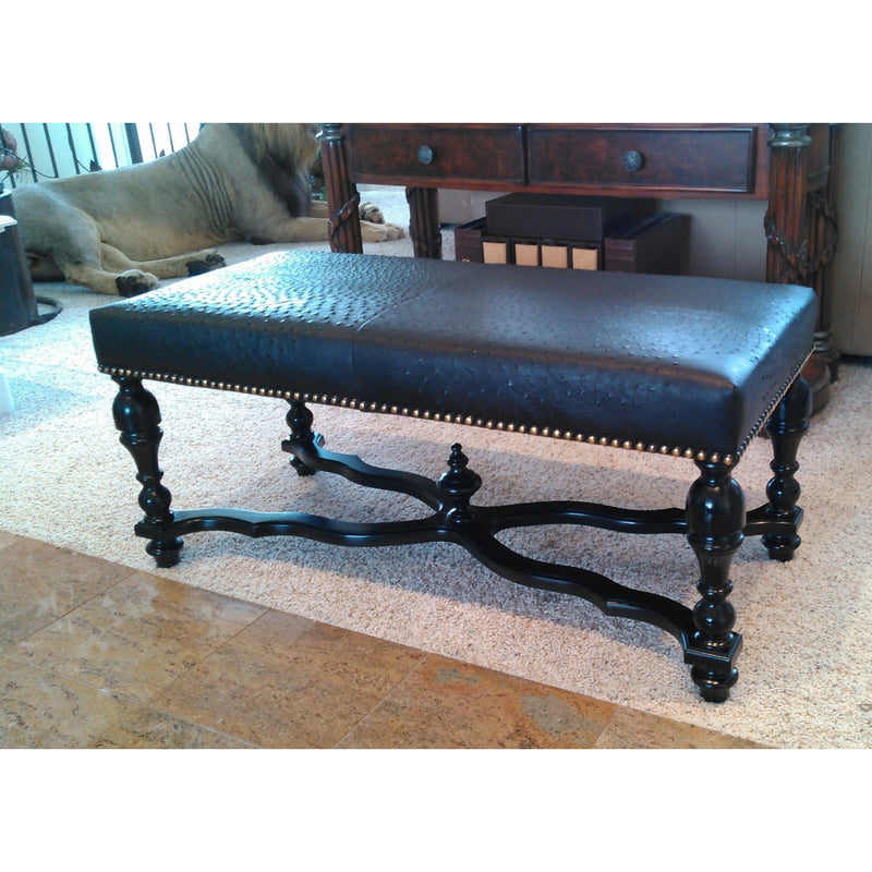 BENCH - Upholstered In Ostrich Leather - Trophy Room Collection
