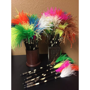 PORCUPINE - Quill Pen with Ostrich Feather - Trophy Room Collection