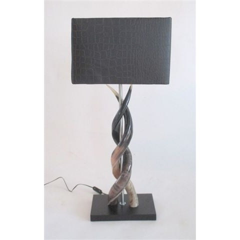 Polished Kudu Upright Twist Lamp & Large Brown Croc Shade - Trophy Room Collection