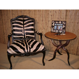 Carved Victorian Zebra Chair - Trophy Room Collection