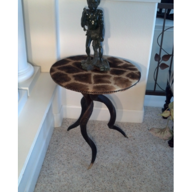 Tripod Kudu Table w/ Giraffe - Trophy Room Collection