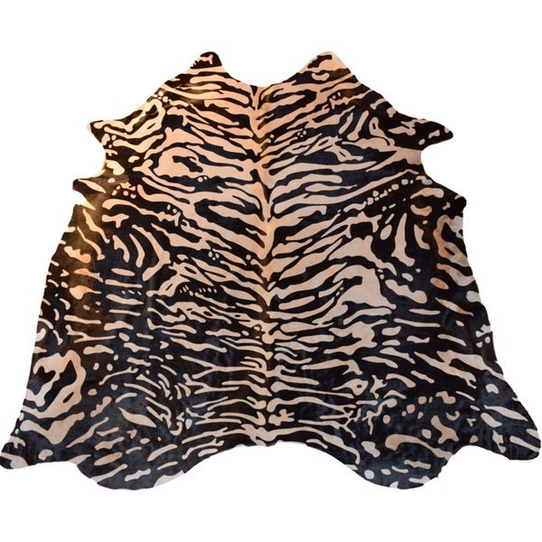 Stenciled Cowhide (Siberian Tiger Print) - Trophy Room Collection  - 1