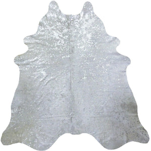 Silver Metallic on White Cowhide - Trophy Room Collection