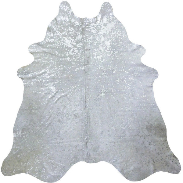 Silver On White Metallic Cowhide - Trophy Room Collection