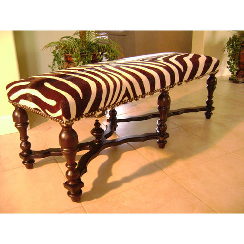 Stenciled Zebra Long Bench - Trophy Room Collection