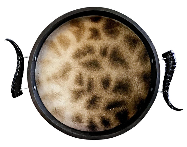 TC3- Round Giraffe Tray with Springbok Polished Horns - Trophy Room Collection