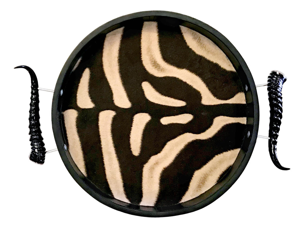 TC4 - Round Zebra Tray with Springbok Polished Horns - Trophy Room Collection