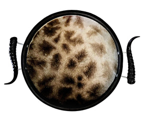 TC5 - Round Giraffe Tray with Springbok Polished Horns - Trophy Room Collection