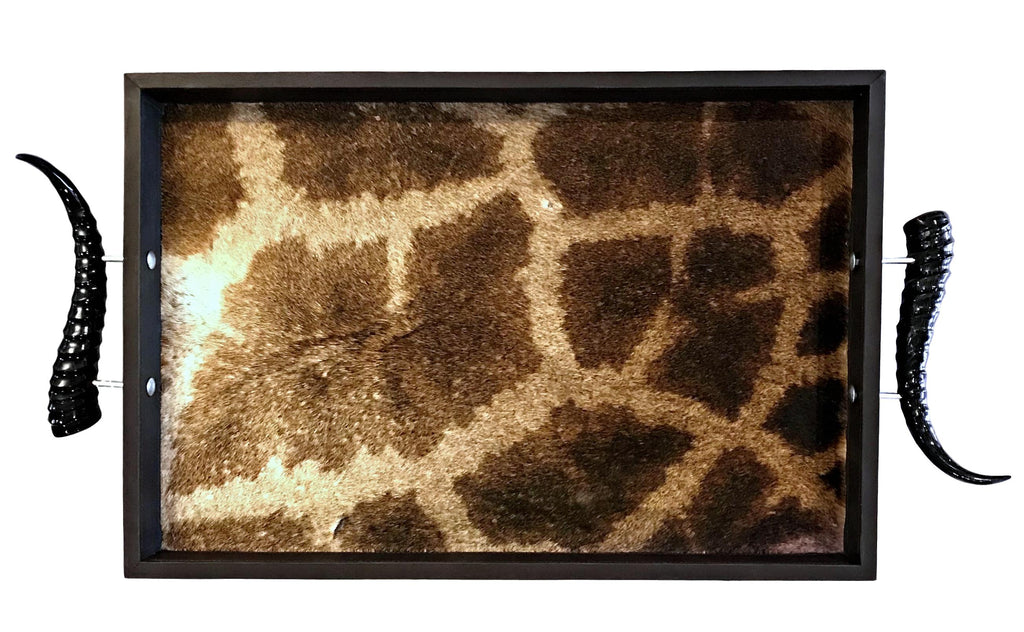 TS1 - Rectangular Giraffe Tray with Springbok Polished Horns - Trophy Room Collection