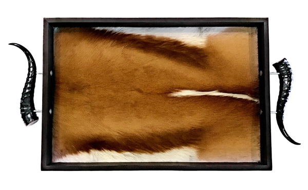 TS2 - Rectangular Springbok Tray with Springbok Polished Horns