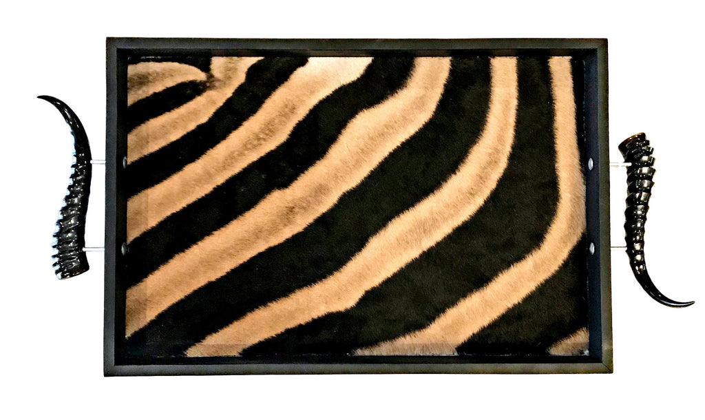 TS3- Rectangular Zebra Tray with Springbok Polished Horns - Trophy Room Collection