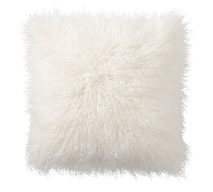 White Tibetan Lamb - SINGLE Sided Pillow (18