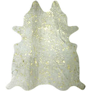 Gold on White Metallic Cowhide - Trophy Room Collection