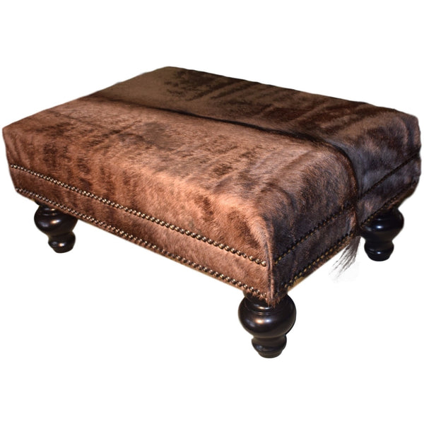 Wildebeest Ottoman with Double Nailhead - Trophy Room Collection