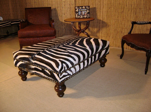 XL Genuine Zebra Ottoman - Trophy Room Collection
