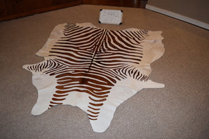 Zebra printed on Cowhide Cowhide For sale