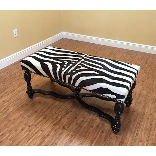 Zebra Bench With Stenciled Cowhide - Trophy Room Collection