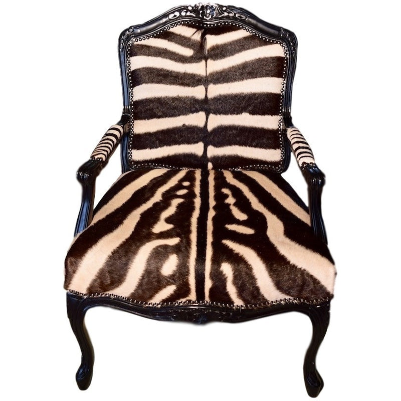 Carved Victorian Chair- Zebra - Trophy Room Collection