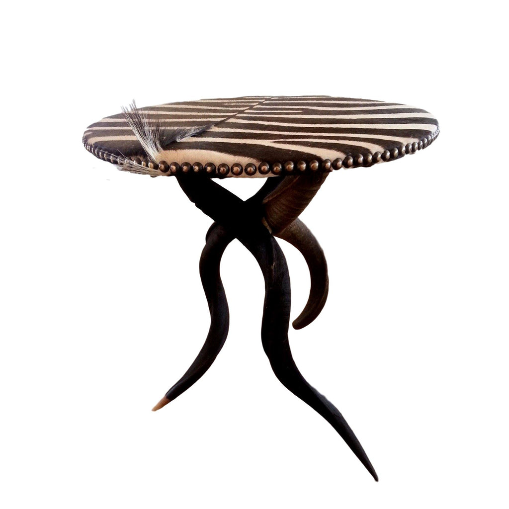 TRIPOD Table - Zebra Table Top with Natural Kudu Base - Trophy Room Collection