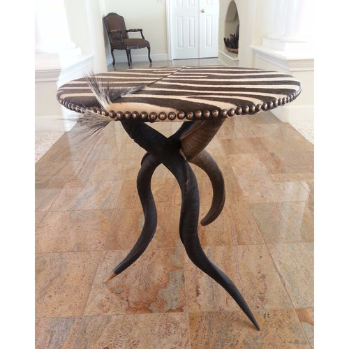 Zebra Table w/ Natural Kudu Horn Base - Trophy Room Collection