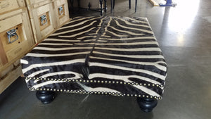 OTTOMAN - XL  Genuine Zebra With Double Nail  Trim - Trophy Room Collection