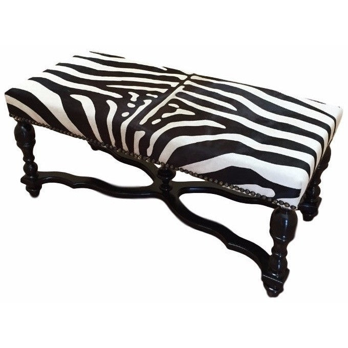 BENCH - Zebra With Stenciled Cowhide - Trophy Room Collection
