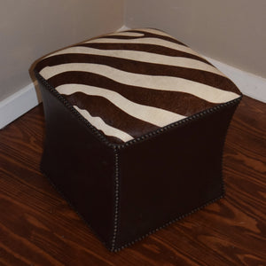 CUBE - Brown & Beige Cowhide w/ Brown Leather trim - Trophy Room Collection