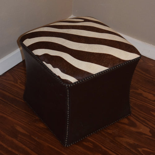 Brown & White Cowhide Cube w/ Brown Kudu Leather trim - Trophy Room Collection