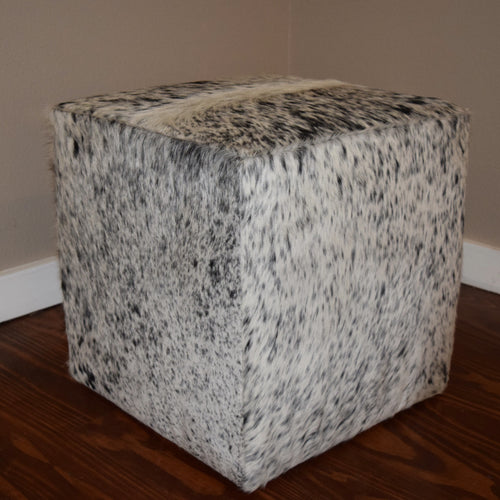 Salt & Pepper Cowhide Cube Ottoman - Trophy Room Collection