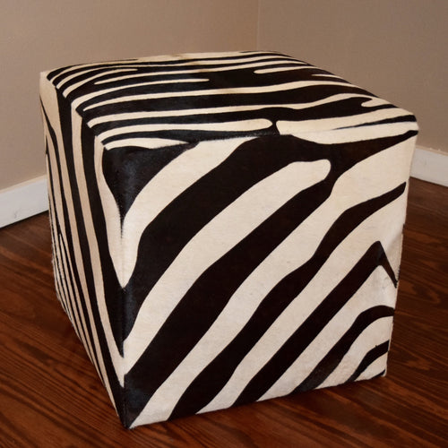 B&W Zebra Stenciled Cube - Trophy Room Collection  - 1