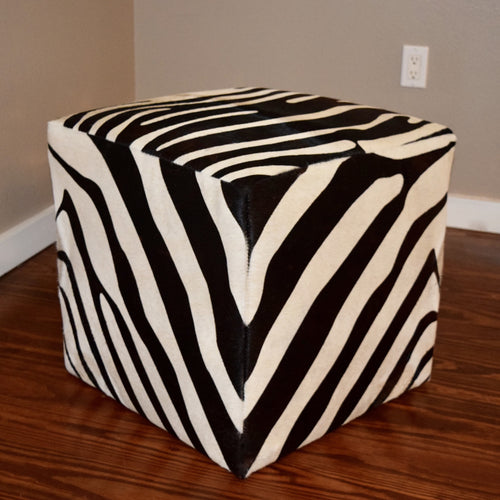 B&W Zebra Stenciled Cube - Trophy Room Collection  - 2