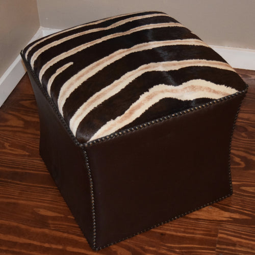 Stenciled Zebra Cowhide Cube- Shadow Stripe w/ Brown Kudu Leather trim - Trophy Room Collection  - 2