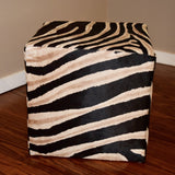 Zebra Stenciled Cube W/ shadow Stripe - Trophy Room Collection  - 3