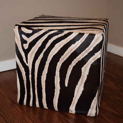 Zebra Stenciled Cube W/ shadow Stripe - Trophy Room Collection  - 2