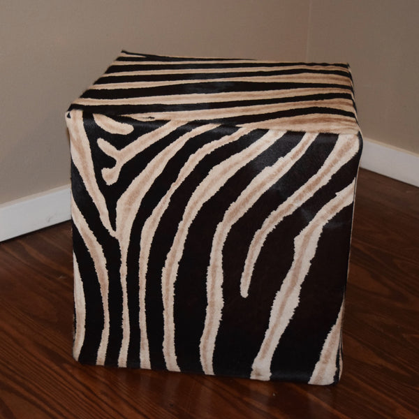 Zebra Stenciled Cube W/ shadow Stripe - Trophy Room Collection  - 1