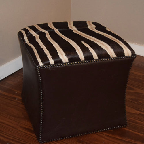 Stenciled Zebra Cowhide Cube- Shadow Stripe w/ Brown Kudu Leather trim - Trophy Room Collection  - 1