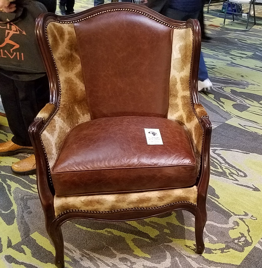 Wing Back Chair in Giraffe & Bovine Leather