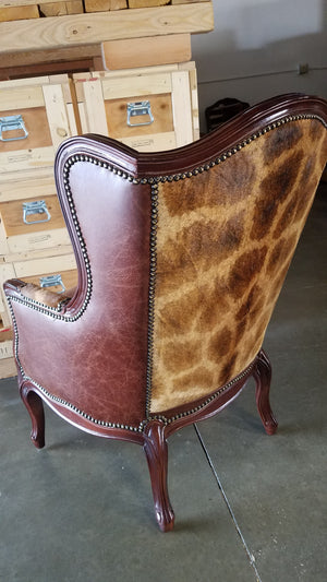 Wing Back Chair in Giraffe & Bovine Leather - Trophy Room Collection