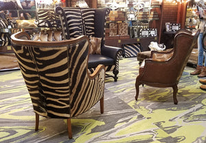 Wing Back Wrap Chair in Zebra - Trophy Room Collection