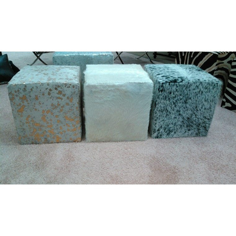 Cowhide Cube Ottomans LARGE - Trophy Room Collection