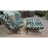 Steel Frame Chair & Ottoman W/ Metallic Zebra Stencil - Trophy Room Collection