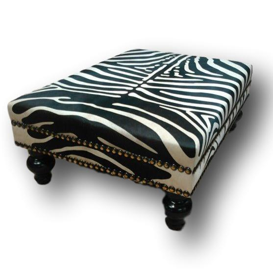 OTTOMAN - XL Stenciled Zebra W/ Double Nail Head Trim - Trophy Room Collection