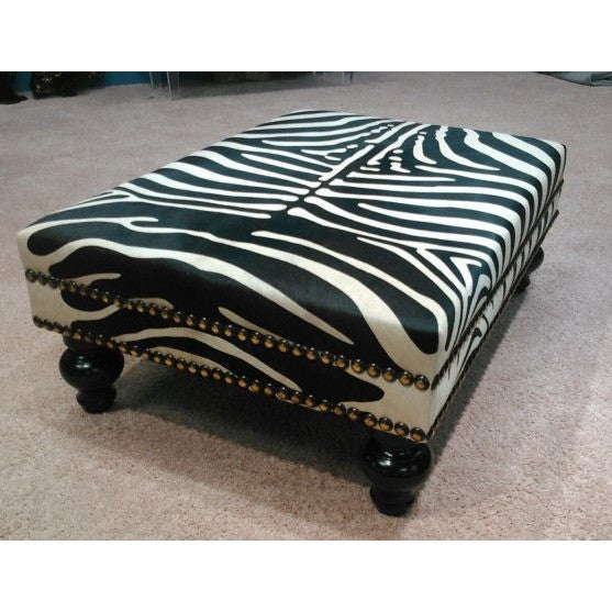 XL Stenciled Zebra Ottoman W/ Double Nail Head Trim - Trophy Room Collection