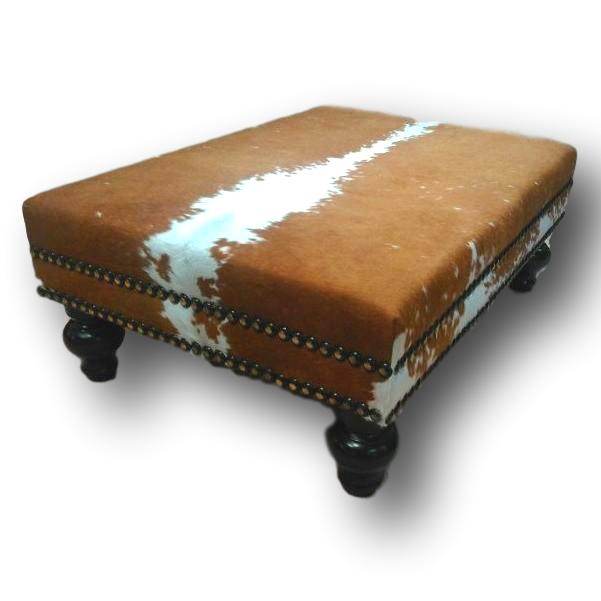OTTOMAN - Hereford Cowhide Ottoman W/ Double Nail Head Trim XL - Trophy Room Collection