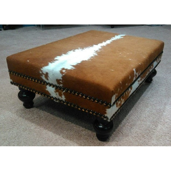 Hereford Cowhide Ottoman W/ Double Nail Head Trim XL - Trophy Room Collection