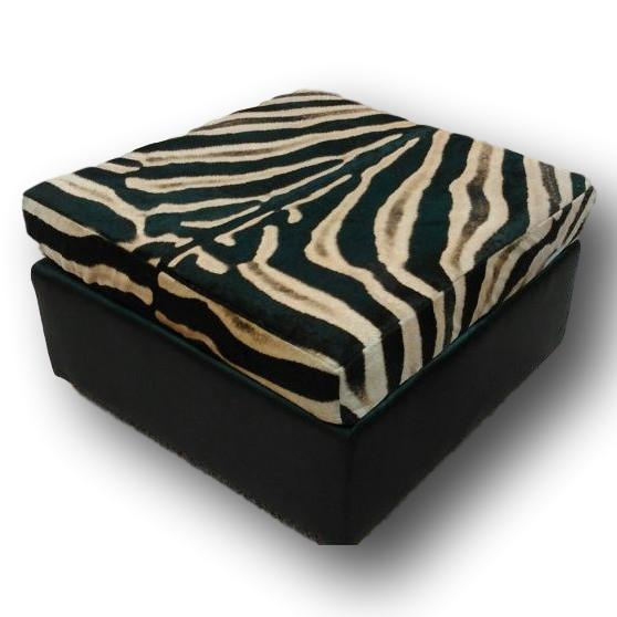 OTTOMAN - Genuine Zebra Slumber Sleek - Trophy Room Collection