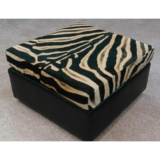 Genuine Zebra Slumber Sleek Ottoman - Trophy Room Collection