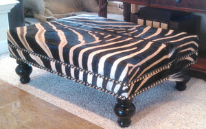 OTTOMAN - XL Genuine Zebra - Trophy Room Collection