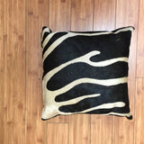 Cowhide Zebra Stencil Black w/ Black Backing - Trophy Room Collection